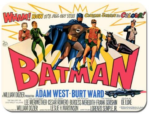 Adam West 1966 Vintage Poster Batman Mouse Mat 1966 Movie High Quality Mouse Pad